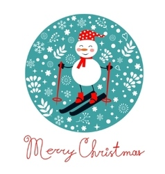 Beautiful christmas card with snowman skiing vector
