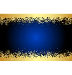 blue frame with gold snowflakes vector image