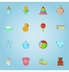 Baby care icons set cartoon style vector image
