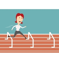 Business woman running and overcoming barriers vector
