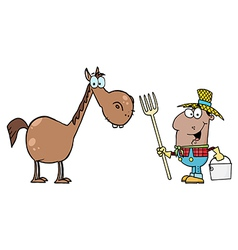 African American Farmer With Horse vector image