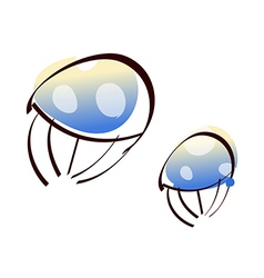 Two jellyfish vector
