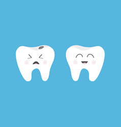 Healthy smiling tooth icon crying bad ill teeth vector