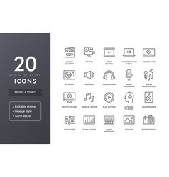 music and video line icons vector image