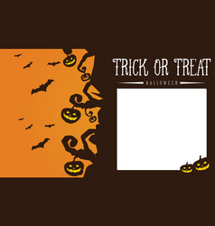 Halloween pumpkin and bat greeting card vector