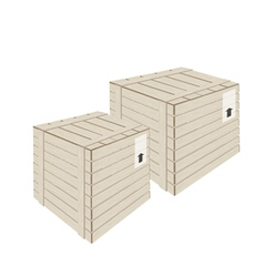 Two wooden cargo box on white background vector