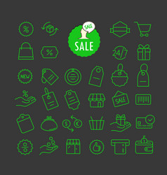 Different sale icons collection web and mobile vector