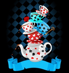 Wonder tea party pyramid design vector