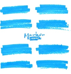Blue marker stains set vector image