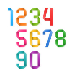 Colorful origami numbers vector