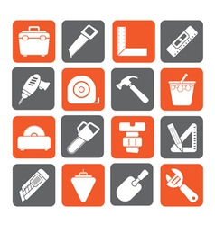 Silhouette construction objects and tools icons vector