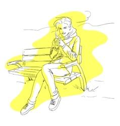 Girl Drinking Coffee Or Tea vector image