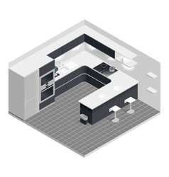 Isometric kitchen set vector