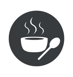 Monochrome round hot soup icon vector