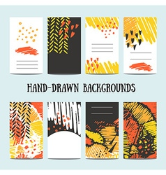 Hand drawn 8 cards with trendy textures and vector