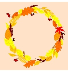 Round frame with autumn leaves vector
