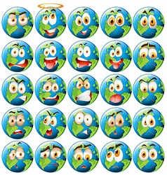 Earth with facial expression vector