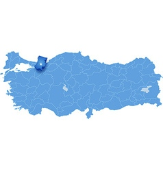 Map of turkey sakarya vector