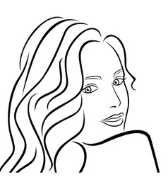 Abstract female half turn portrait vector