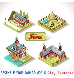 Farm tiles 01 set isometric vector