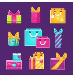 Wrapped presents set vector
