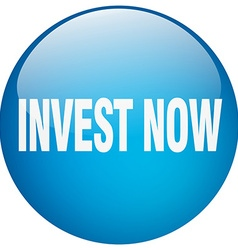Invest now blue round gel isolated push button vector