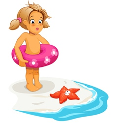 Baby girl and starfish on beach vector