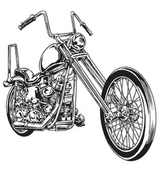 and drawn and inked vintage american chopper motor vector image vector image