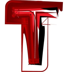 Artistic font letter t vector