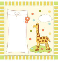 Baby greeting card with giraffe vector image