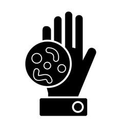 bacteria hand icon black vector image