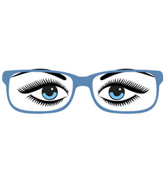 Beautiful womens blue eyes with glasses vector