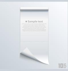bent piece of paper notebook vector image vector image