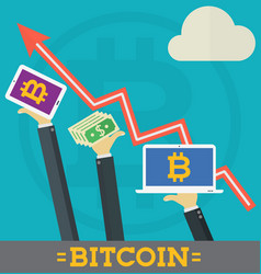 Bitcoin growth on cryptocurrency markets concept vector