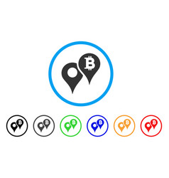 Bitcoin map markers rounded icon vector
