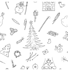 Christmas seamless pattern in doodle stylehand vector