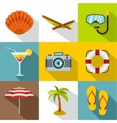 Coast icons set flat style vector