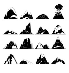 collection of mountain silhouette icons in flat vector image vector image