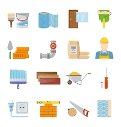 Construction materials icons set vector