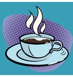 Cup of coffee pop art style vector image