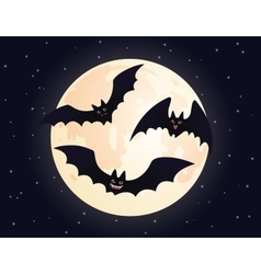 Cute flying bats on a moon background vector