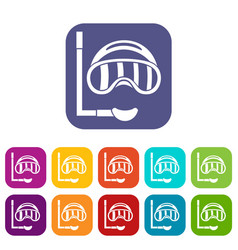 Diving mask icons set vector