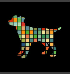 dog pup pet color silhouette animal vector image vector image