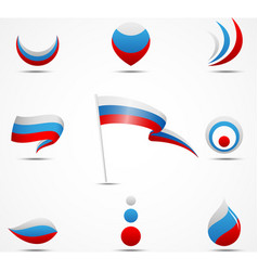 flags and icons of russia vector image vector image