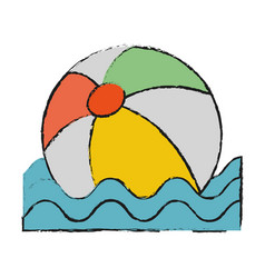 floating beach ball vector image vector image