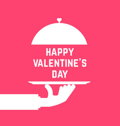 happy valentine day like serving hand vector image