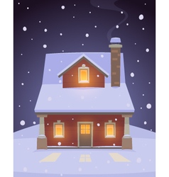House in snow vector