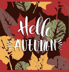 Lettering design with abstract autumn background vector