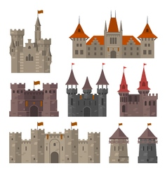 Medieval castles fortresses and strongholds vector image