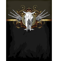 Ornate frame with skull and arms vector